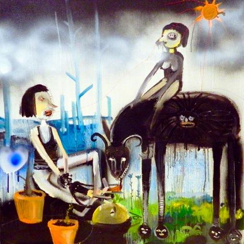 Silvia Argiolas, Il mio amico cattivo sostiene da anni un cuore che ride nello stomaco, olio e smalto su tela, 60x60 cm., 2012
