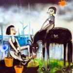 Silvia Argiolas_il mio amico cattivo sostiene da anni un cuore che ride nello stomaco -olio e smalto su tela  60x602012 (2)