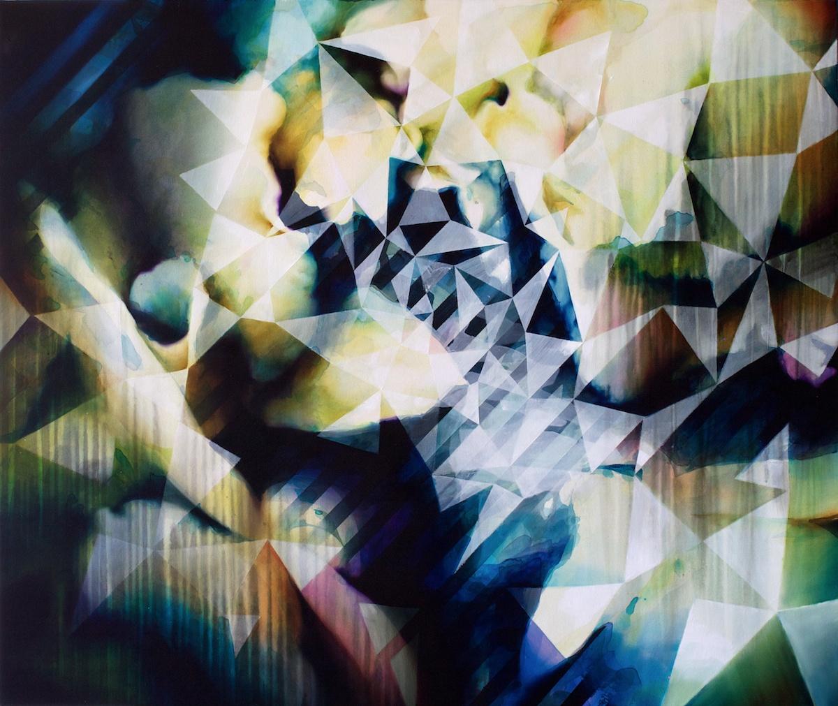 Rumore bianco (fioritura), acrilico acquarello ed olio su tela, cm 100 x 120, 2012