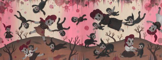 G.Baseman-2012-Bloody-Smiles-in-Heaven-acrilico-su-tela-91-x-244-cm