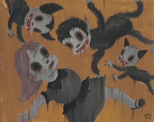 G.Baseman-2012-Delirium-Gold-acrilico-su-tela-41-x-51-cm