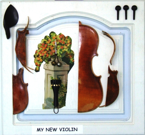 MY NEW VIOLIN (2006) objects on wood, cm. 56,5x58,5x5