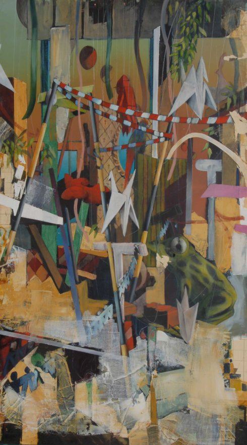 Cronache inesatte, 2012, olio su tavola, 160x90 cm