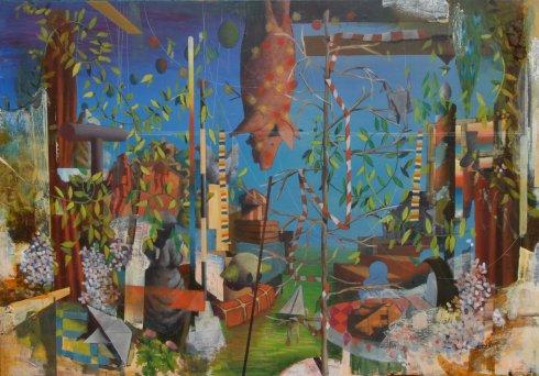 La stagione del mandorlo, 2013, olio su tavola, 140x200 cm