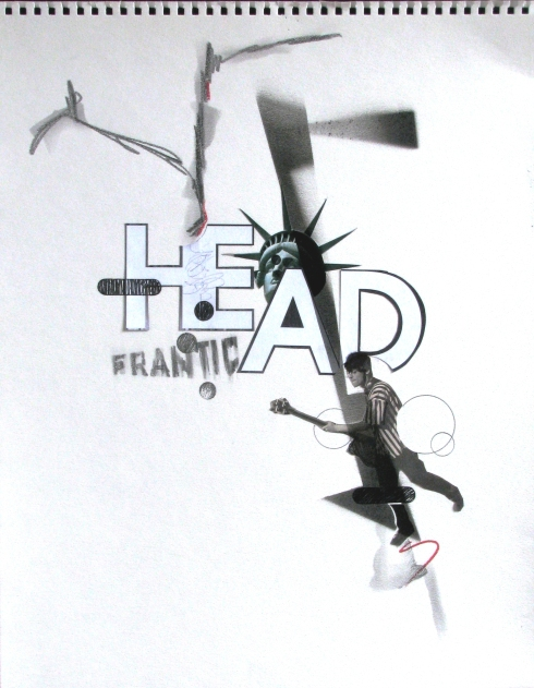 Nicola Di Caprio, Head frantic, collage e tecnica mista su carta, 30x40 cm., 2010