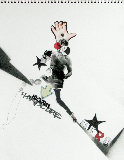 Nicola Di Caprio, Tonalità Hardcore, collage e tecnica mista su carta, 30x40 cm., 2010