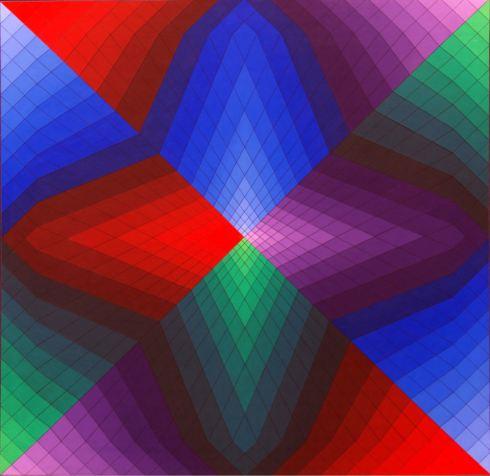 Pauk Atlo, acrilico su tavola,  56,5x56,5 cm, 1969.