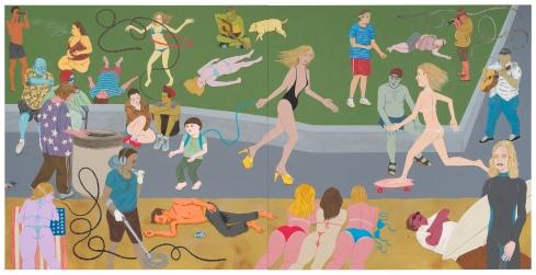 Ed Templeton, Huntington Beach, acrilico su pannello di legno, 122 x 244 cm, 2013
