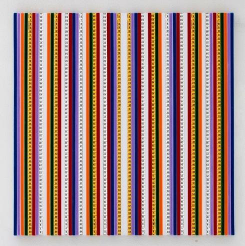 Mimmo Iacopino, Color Numbers, strisce di velluto e metri sartoriali su tela, 2011.