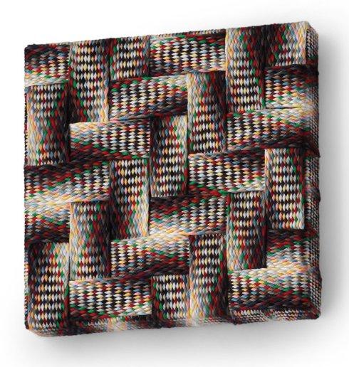Mimmo Iacopino, Vibrazioni, trecce di fili da cucito in cotone su tela, 2011.