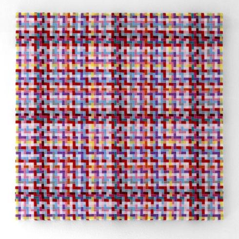 Mimmo Iacopino, Visione pittorica, strisce di velluto e raso su tela, 2011.