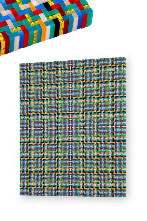 3-Mimmo Iacopino, Misure morbide, strisce di raso, strisce di velluto e metri su tela, 100x120 cm., 2013