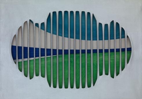 Grata del brigantino  tela intagliata e dipinta, tecnica mista, cm 70x100, 1965