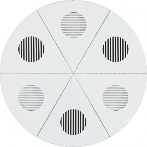 Il variare del tempo  tela intagliata e dipinta e metallo speculare e anodizzato, diametro cm 120, 1975-2014