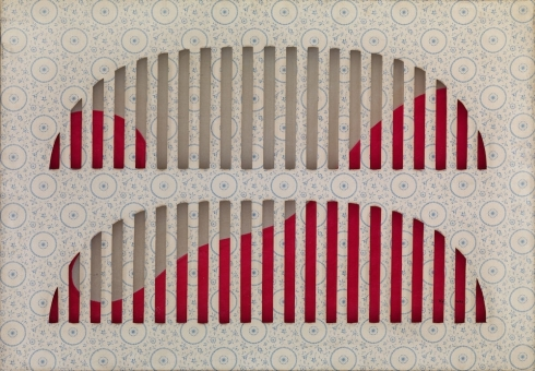 Interferenze  tela cerata intagliata, tecnica mista, cm 70x100, 1966