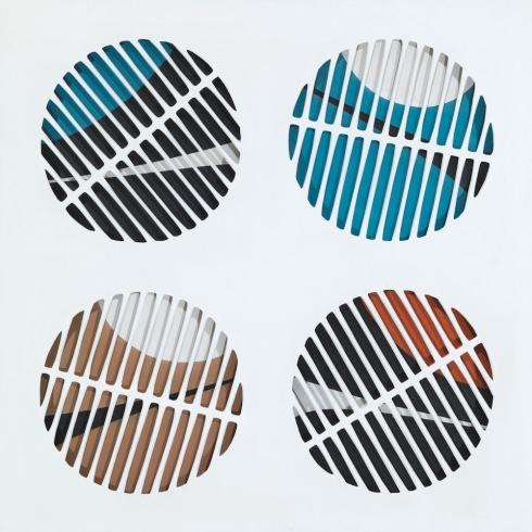 Pronto- Satellite!  tela intagliata e dipinta, tecnica mista, cm 140x140, 1965