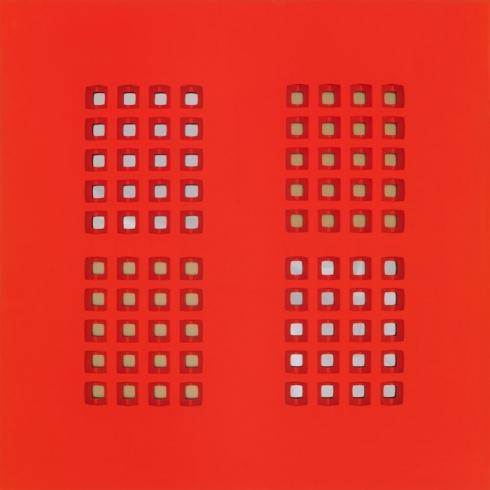 Ricordando Salomone  tela intagliata e dipinta e metallo speculare e anodizzato, cm 100x100, 2012