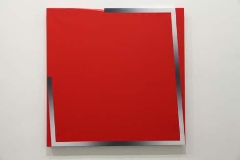 Giuliano Barbanti, SS rosso: GC, 80x80 cm., 1988.