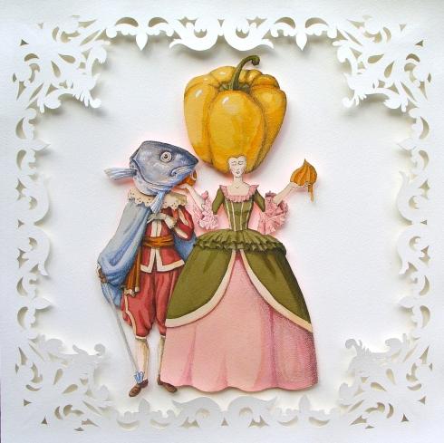 Vanni Cuoghi, Fidanzamento ufficiale, acquerello e china su carta, 45x45 cm., 2014