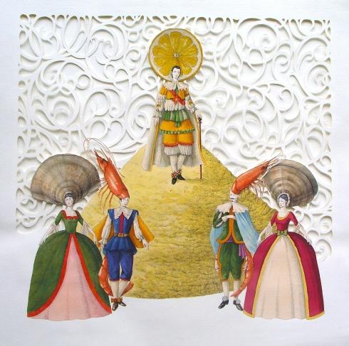 Vanni Cuoghi, Il principe ha riso, acquerello e china su carta, 70x70 cm., 2014