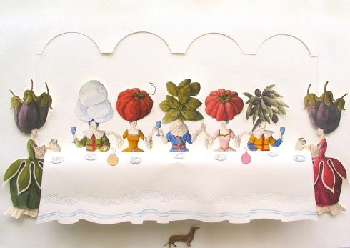 Vanni Cuoghi, La felicità è al piano di sopra, acquerello e china su carta, 70x100 cm., 2014