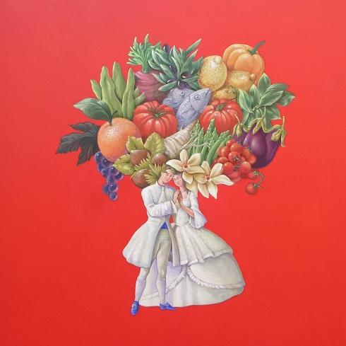 Vanni Cuoghi, Lo stesso pensiero, acrilico e olio su tela, 80x80 cm., 2014