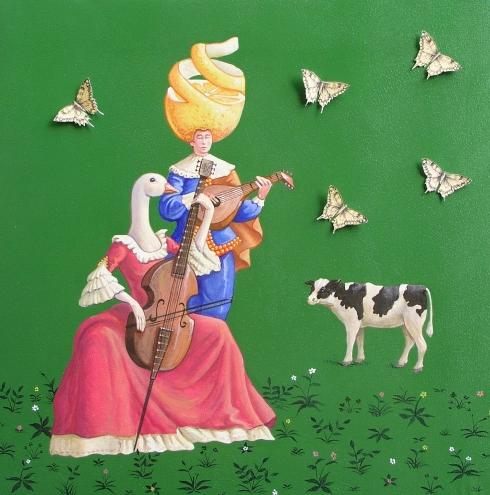 Vanni Cuoghi, Un allegro concertino, acrilico, olio e collage su tela, 45x45 cm., 2014