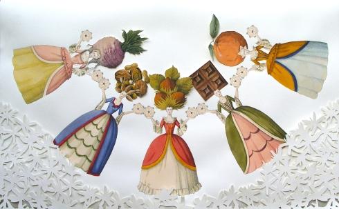 Vanni Cuoghi, Una dolce danza, acquerello e china su carta, 60x95 cm., 2014