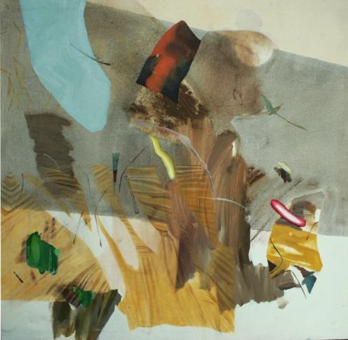 Chiara Campanile, Mangiando salsicce con Giuseppe Abate, olio e acrilico su tela, 90x85 cm., 2013