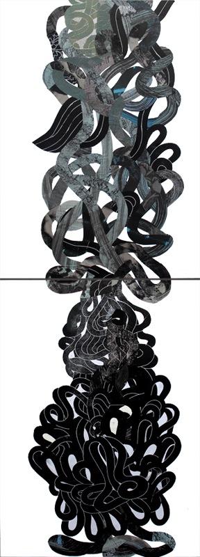 Claudia Marini, Grovigli, collage su forex, dittico 35x24 cm. cad, 2014