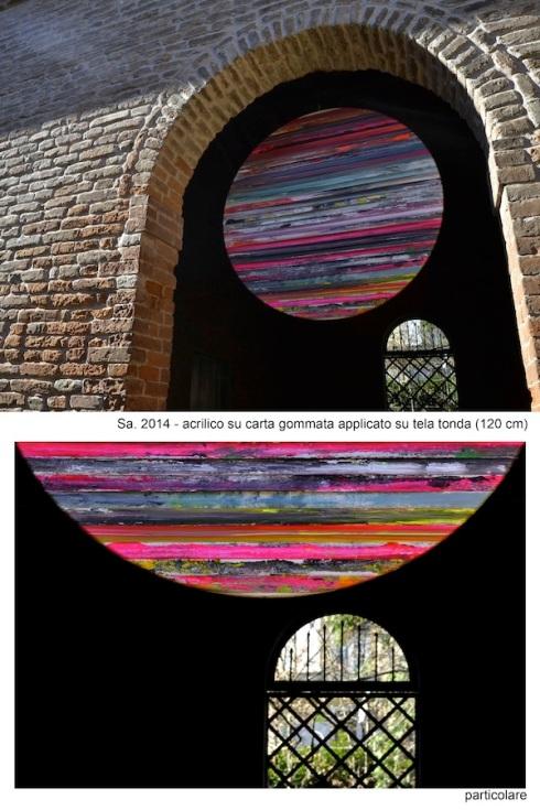 Paolo Bini, Sa, acrilico su carta gommata applicata su tela, 120x120 cm., 2014