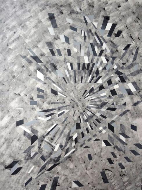 Xhimi Hoti, Senza titolo n. 10, acrilico su tela, 120x150 cm., 2013