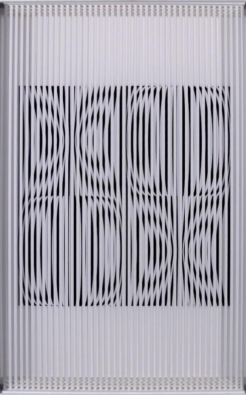 Ti guardano,  lamelle di PVC e acrilico, cm 52x35x4,5, 1990