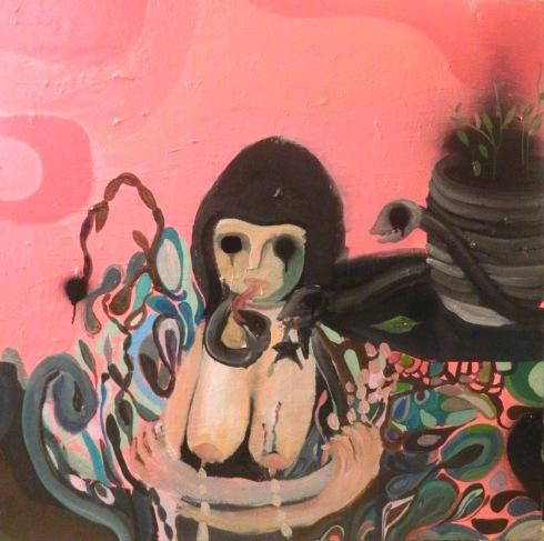 Silvia Argiolas, Autoritratto con carne più serpenti, olio su tela, 80x80 cm.,  2014