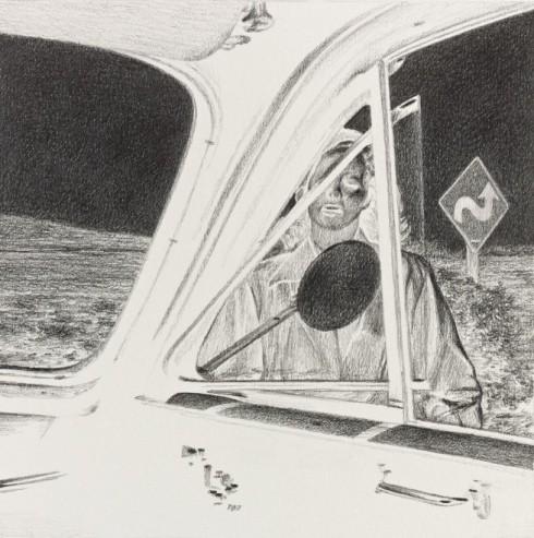 Eric White, Gun crazy inverse - 1948 Cadillac series 62 backseat, 2014, matita su carta