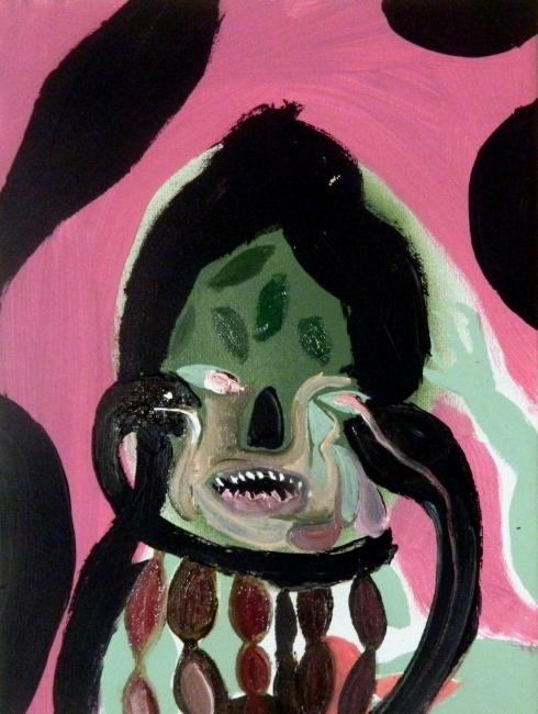 Silvia Argiolas, Mi parlano, olio su tela, 18 x24 cm.,  2014