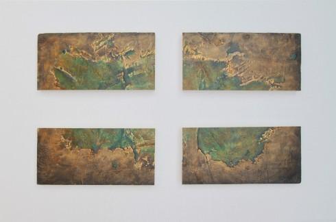 On the Edge, olio, acrilico, resina, gesso su Polistirolo, 140x80 cm., 2014