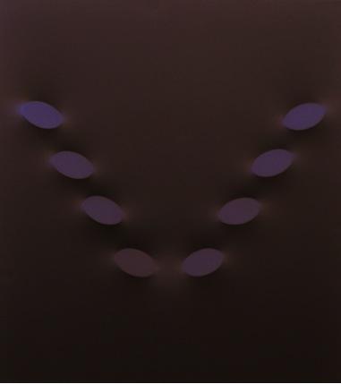 Otto ovali marroni, acrilico su tela, 120x100 cm., 1990