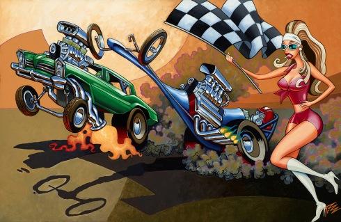 Pizz, Famoso Raceway, 2014, acrylic on canvas, 56x86 cm