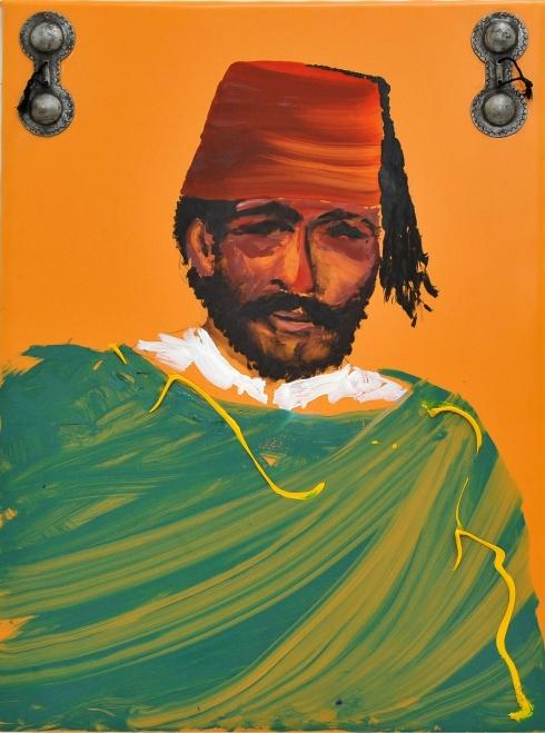Ritratto di Gnawa olio su linoleum 80x60 anni 2000