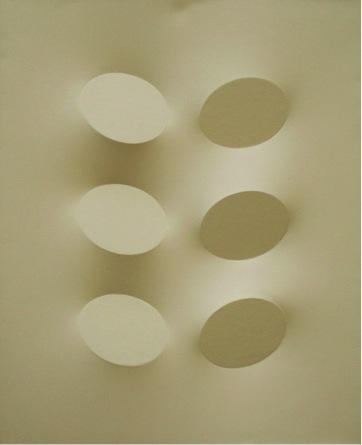Sei ovali color sabbia, acrilico su tela, 120x100 cm., 2006