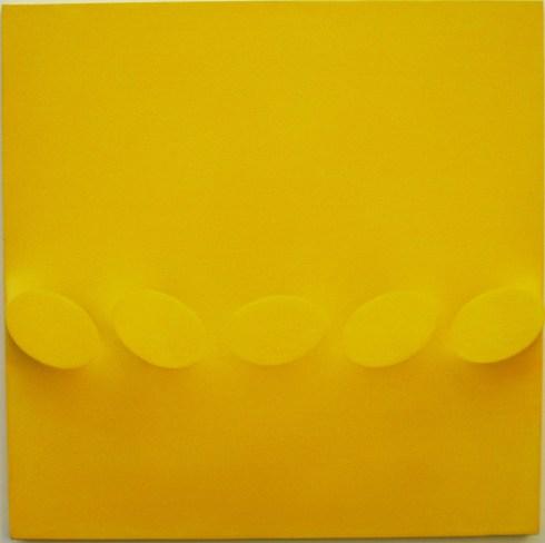 Cinque ovali gialli, acrilico su tela, 60x60 cm., 1988