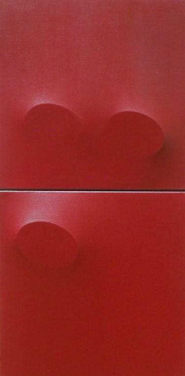 Tre ovali rossi, acrilico su tela, 100x50 cm, 2010 (dittico)