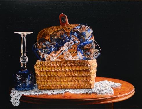 Composizione con bicchieri blu su cestino e ricamo, olio su tela, 35x45 cm., 2006