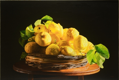 Composizione con limoni su sfondo nero. Verso la luce, olio su tela, 55x80 cm., 2010-2011