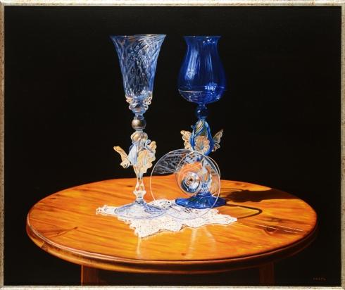 Tre bicchieri olio su tela, 55x65 cm.,1998