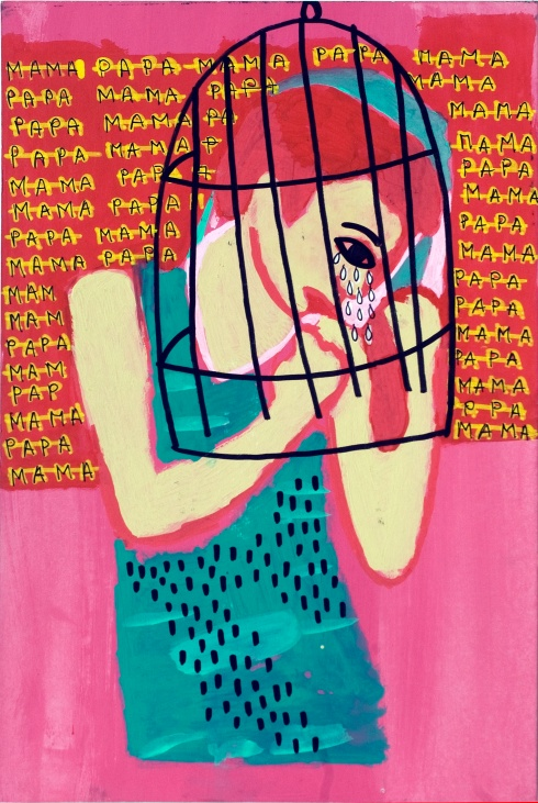 Valentina Chiappini, Mamapapamamapapa, tecnica mista su cartone telato, 38x25 cm, 2014