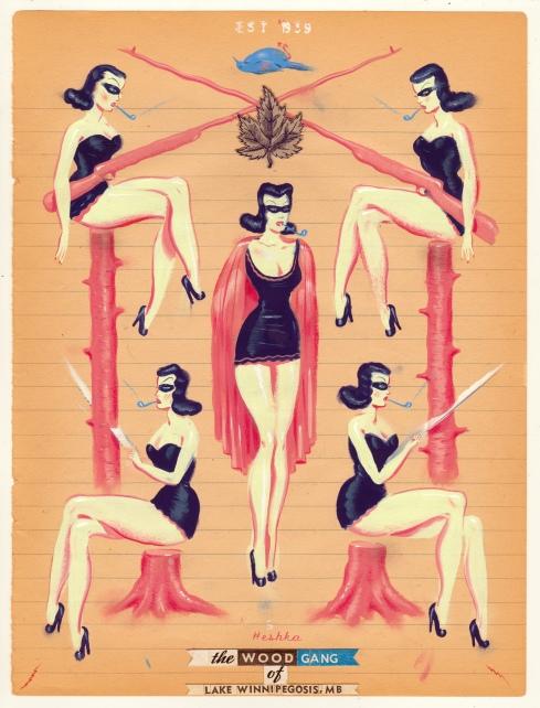 Ryan Heshka, Wood Gang of Lake Winnipegosis, 2015, gouache and mixed on vinatge paper, 24x18 cm