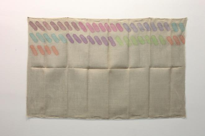 Giorgio Griffa, Senza titolo, 1973, acrilico su juta, cm 118x190