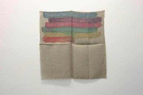 Giorgio Griffa, Orizzontale policromo, 1973, acrylic on jute, cm 98x98